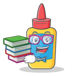 Student with book glue bottle character cartoon vector