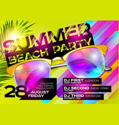 Summer beach party poster for music festival vector
