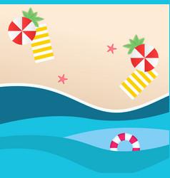 summer beach red umbrella yellow beach mat swimmin vector image