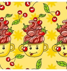 Sweet pattern cith candy dessert Cherry vector image