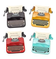 Typewriter flat set vector