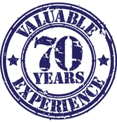 Valuable 70 years of experience rubber stamp vect vector