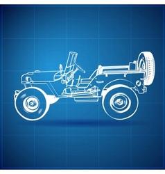 Vintage blueprint american jeep vector