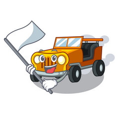 With flag jeep cartoon car in front clemency vector
