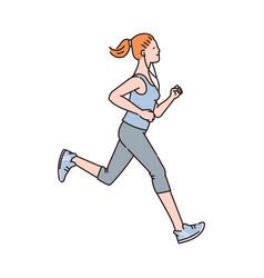 woman running marathon cartoon character vector image