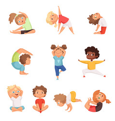 yoga kids characters fitness sport children vector image