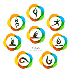 Yoga logo set vector
