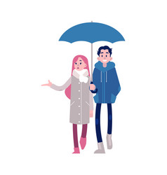 young couple holding hands vector image