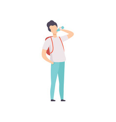Young man with backpack drinking bottled water vector