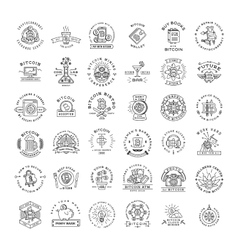 Bitcoin logo templates big set Cryptocurrency vector image vector image
