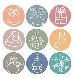 christmas icons set vector image