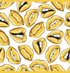 seamless pattern with sexy golden lips vector image vector image