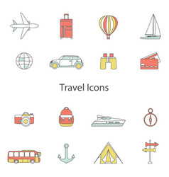 Set line flat icons sign and symbols of vector