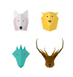 Wild animals flat icons vector image vector image