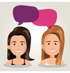 Women talking dialogue isolated vector