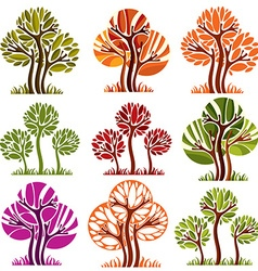 art drawn colorful trees Spring and autumn season vector image