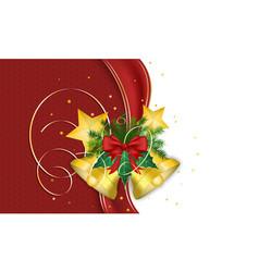 christmas wish with golden bells ribbon needles vector image vector image