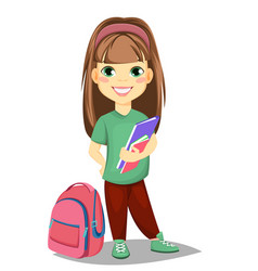 cute girl with books in casual clothes stands vector image vector image