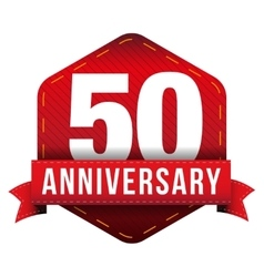 Fifty year anniversary badge with red ribbon vector image vector image
