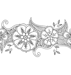Monochrome seamless pattern floral border isolated vector image