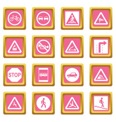 road sign set icons pink vector image