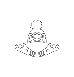 Winter mittens and cap icon outline style vector image vector image