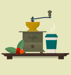coffee set with coffee mill beans and cup vector image