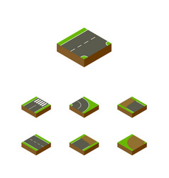 Isometric road set of down footer unfinished and vector