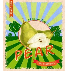 Pear retro poster vector image vector image