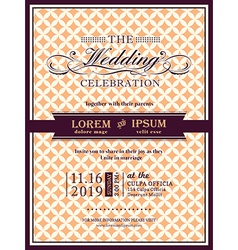 Ribbon banner Wedding invitation frame template vector image vector image