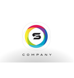 s letter logo with rainbow circle design vector image