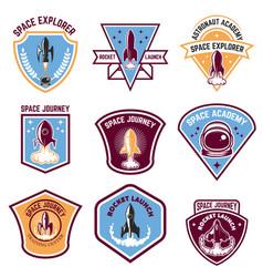 space camp emblems rocket launch astronaut vector image vector image
