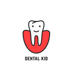 thin line icon of children dentistry vector image