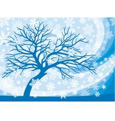 winter tree and snowflakes vector image vector image