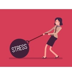 Businesswoman dragging a weight Stress on chain vector image vector image