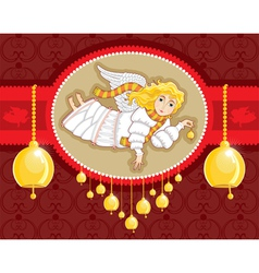 christmas card angel bell vector image vector image