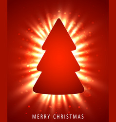 christmas tree made of red paper on red background vector image vector image