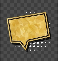 Square gold sparkle comic text bubble vector image