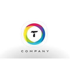t letter logo with rainbow circle design vector image vector image