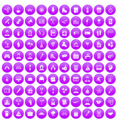 100 team building icons set purple vector image