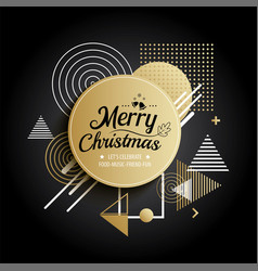 abstract meryy christmas gold circle geometric vector image
