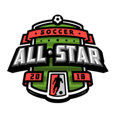 all stars of soccer logo emblem vector image