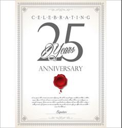 Anniversary retro vintage design 25 years vector