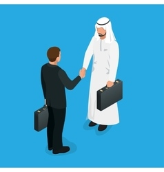 Arabian partners handshake concept Business deal vector