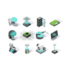 artificial intelligence isometric icons set vector image