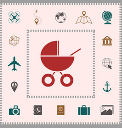 Baby carriage icon elements for your design vector