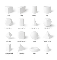basic 3d shapes white realistic set vector image