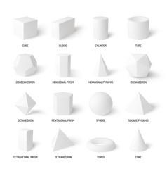 basic 3d shapes white realistic set vector image