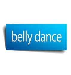 Belly dance blue square isolated paper sign on vector