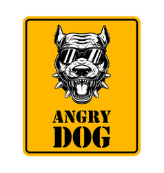 Beware dog sign with with angry dog head vector